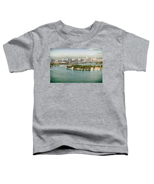 Retro Style Miami Skyline And Biscayne Bay Toddler T-Shirt