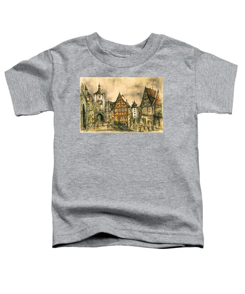 Rothenburg Bavaria Germany - Romantic Watercolor Toddler T-Shirt
