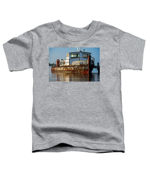 Rusty Boat Moored In A Lake At Sunrise Toddler T-Shirt