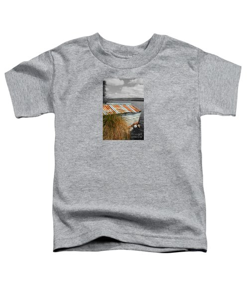 Toddler T-Shirt featuring the photograph Rusty Boatshed On Lake. by Nareeta Martin