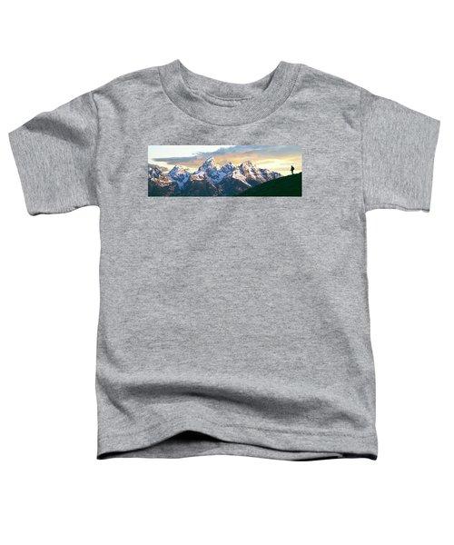 Silhouette Of Hiker Looking At Teton Toddler T-Shirt