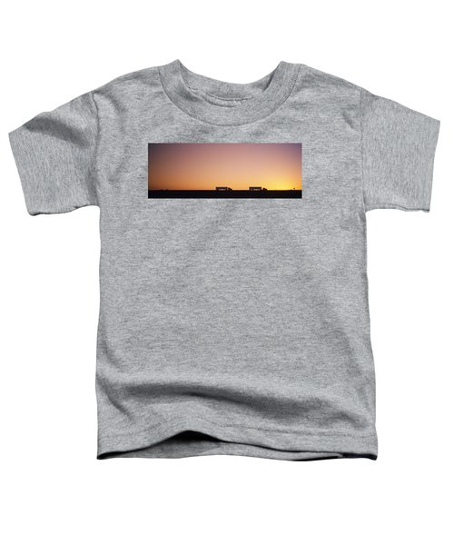 Silhouette Of Two Trucks Moving Toddler T-Shirt