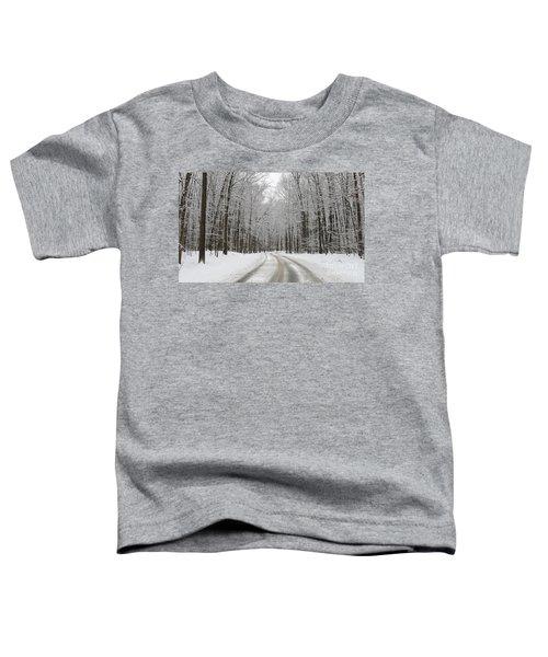Snowy Road In Oak Openings 7058 Toddler T-Shirt by Jack Schultz