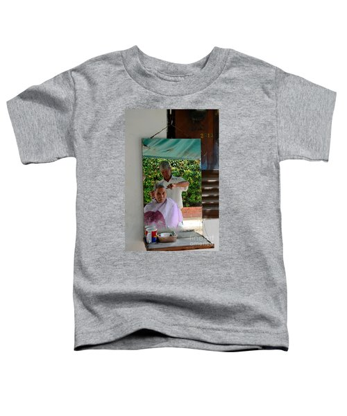 Street Side Barber Cuts Client Hair Singapore Toddler T-Shirt