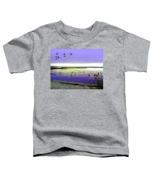 Sunset And Geese - Use Red-cyan 3d Glasses Toddler T-Shirt