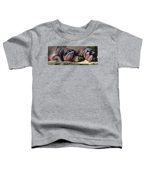 Two Hippos Sleeping On Riverbank Toddler T-Shirt by Johan Swanepoel