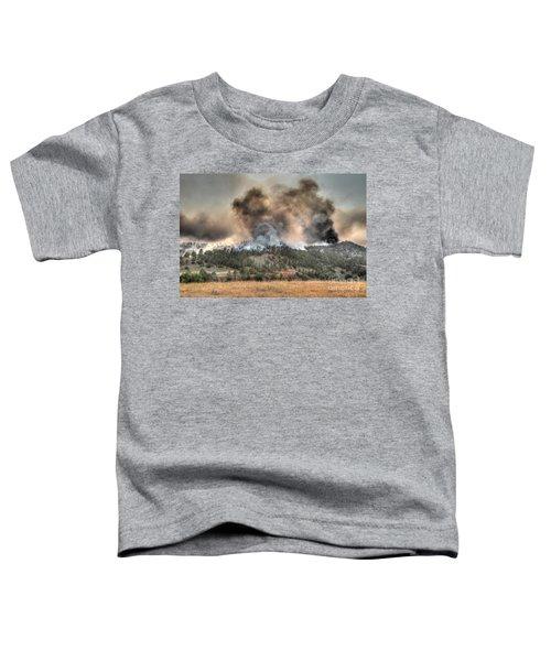 Two Smoke Columns White Draw Fire Toddler T-Shirt