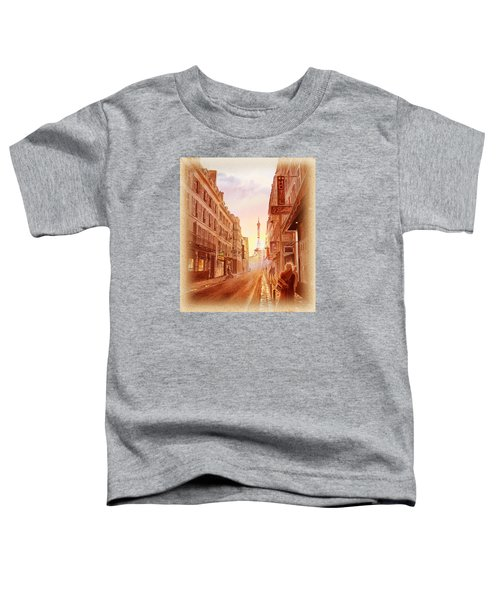 Toddler T-Shirt featuring the painting Vintage Paris Street Eiffel Tower View by Irina Sztukowski