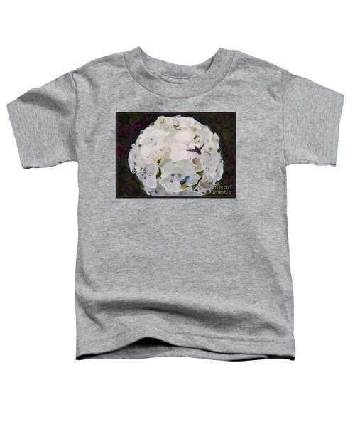 White Flower And Friendly Bee Mixed Media Painting Toddler T-Shirt