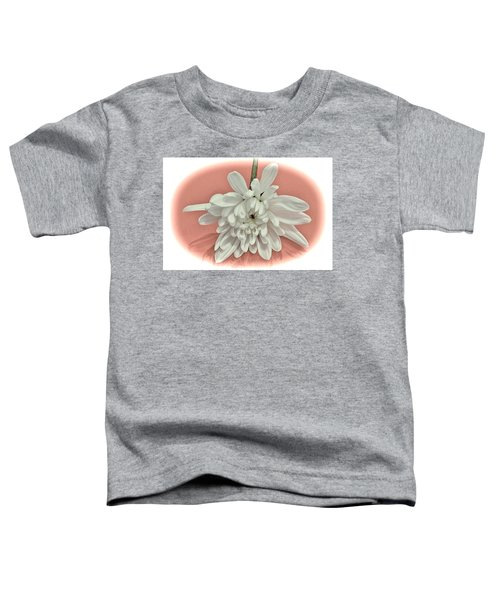White Flower On Pale Coral Vignette Toddler T-Shirt