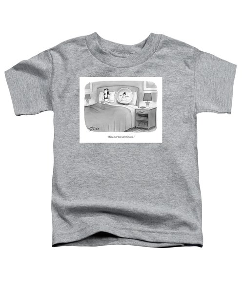 Woman In Bed With A Huge Snow-globe Toddler T-Shirt