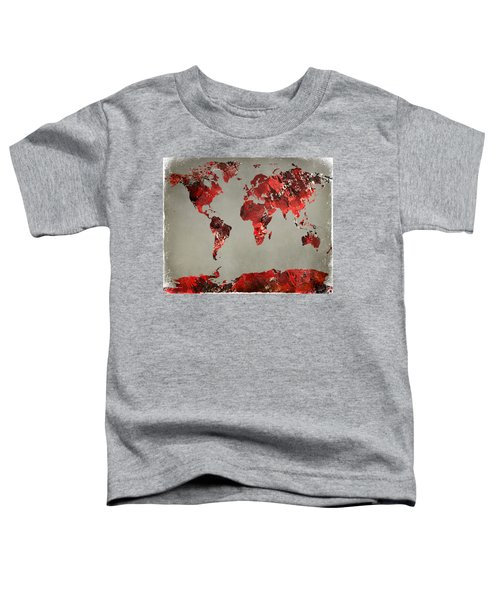 World Map - Watercolor Red-black-gray Toddler T-Shirt