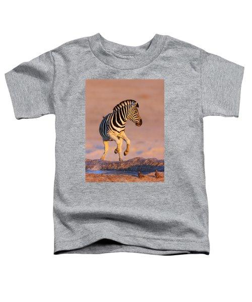 Zebras Jump From Waterhole Toddler T-Shirt
