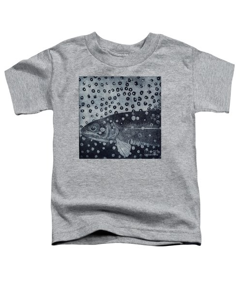 Unique Etching Artwork - Brown Trout  - Trout Waters - Trout Brook - Engraving Toddler T-Shirt