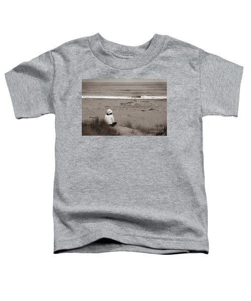 Watching The Ocean In Black And White Toddler T-Shirt