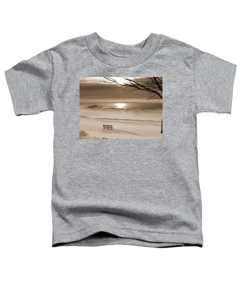 Winter Beach Morning Sepia Toddler T-Shirt by Bill Pevlor