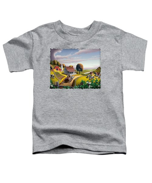 Appalachian Blackberry Patch Rustic Country Farm Folk Art Landscape - Rural Americana - Peaceful Toddler T-Shirt