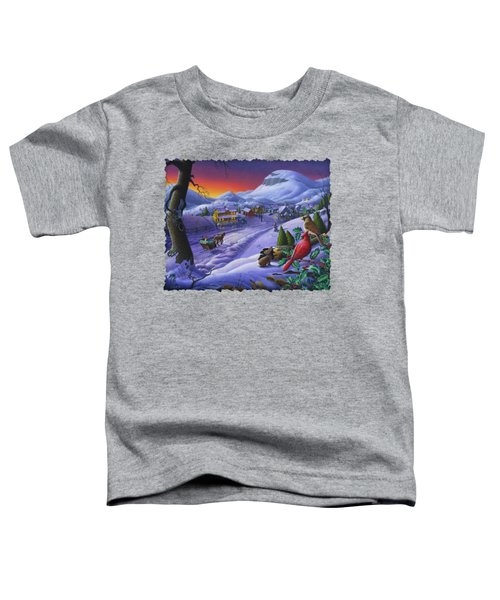 Christmas Sleigh Ride Winter Landscape Oil Painting - Cardinals Country Farm - Small Town Folk Art Toddler T-Shirt by Walt Curlee