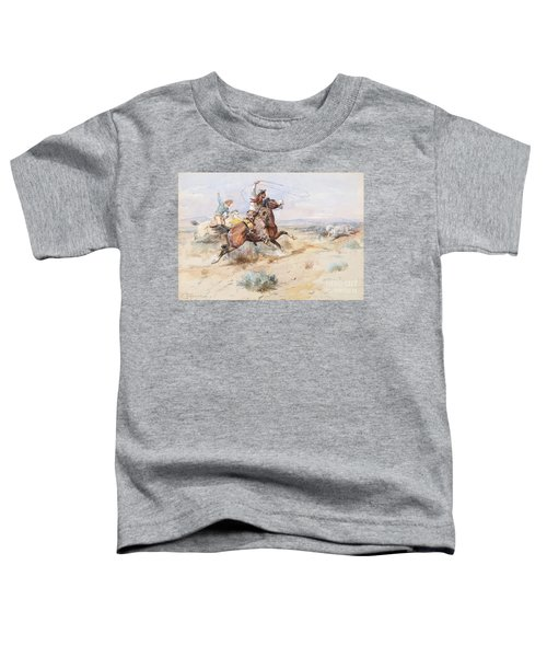 Toddler T-Shirt featuring the painting  Roping A White Wolf  by Charles M Russell