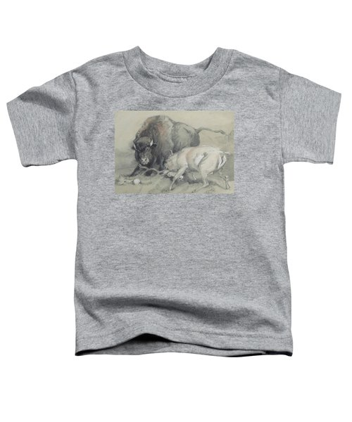 A Stag Challenging A Bison Toddler T-Shirt