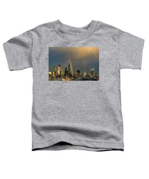 Double Rainbow Over The City Of London Toddler T-Shirt