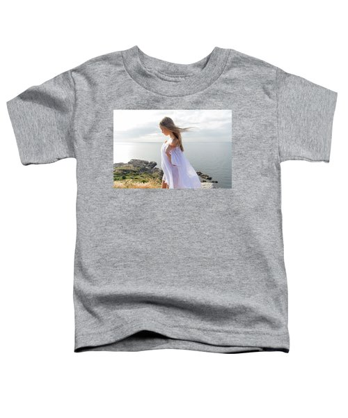 Girl In A White Dress By The Sea Toddler T-Shirt