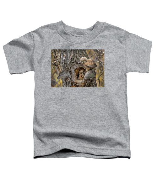 Great Horned Owlets In A Nest Toddler T-Shirt