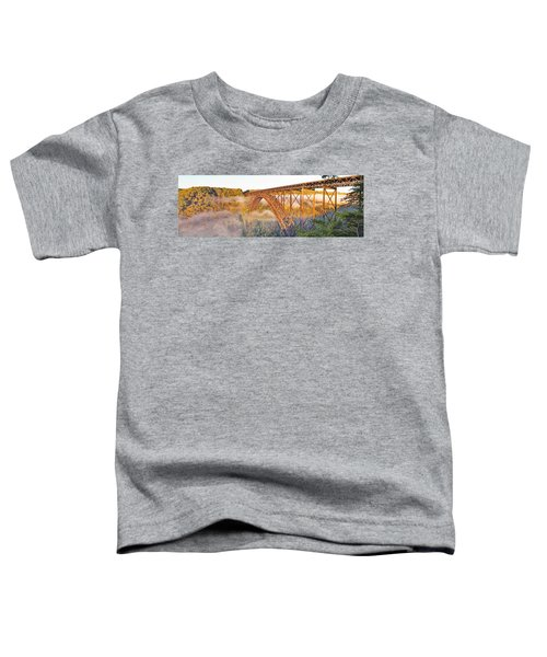 New River Gorge Bridge Morning Fall Panorama Toddler T-Shirt