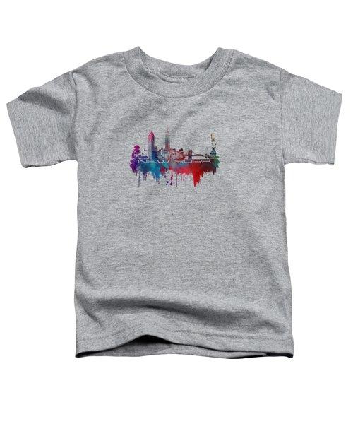 New York City Skyline Blue Toddler T-Shirt by Justyna JBJart