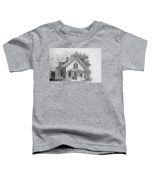 19 Century Farmhouse With Dog On Front Poarch Toddler T-Shirt