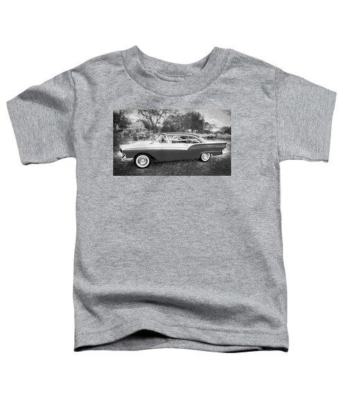 1957 Ford 2 Door Fairlane C128 Bw    Toddler T-Shirt