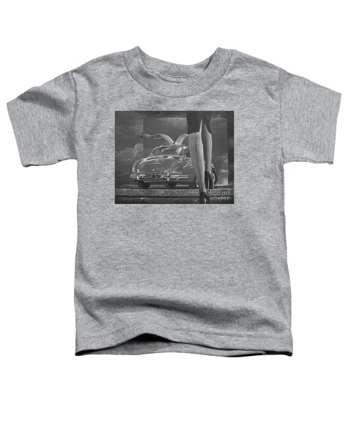 1957 Mercedes Benz 300 Sl Gullwing Coupe In Black And White Toddler T-Shirt