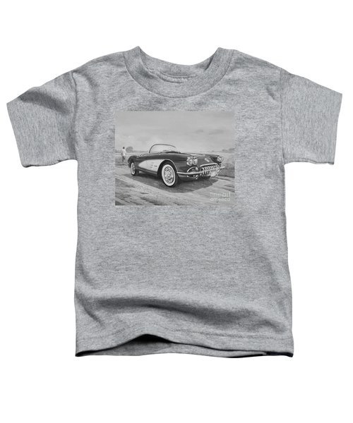 1959 Chevrolet Corvette Cabriolet In Black And White Toddler T-Shirt