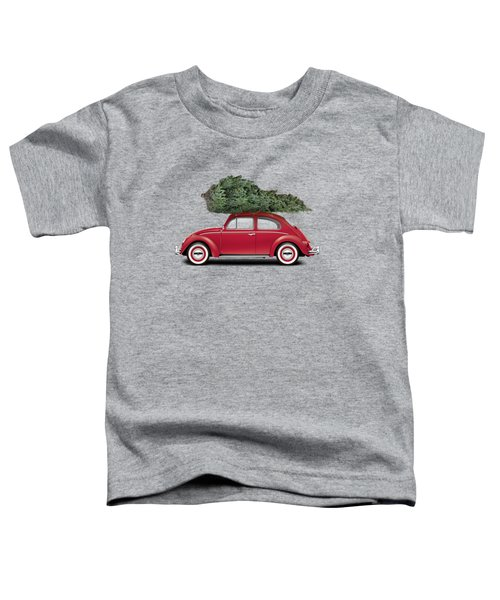 1962 Volkswagen Deluxe Sedan - Ruby Red W/ Christmas Tree Toddler T-Shirt by Ed Jackson