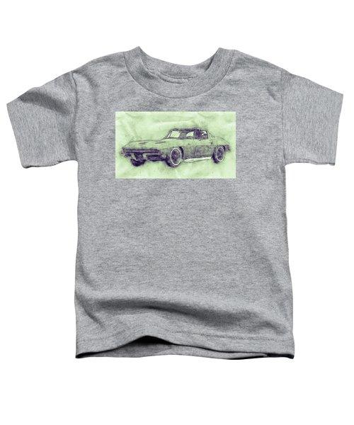 1963 Chevrolet Corvette Sting Ray 3 - 1963 - Automotive Art - Car Posters Toddler T-Shirt