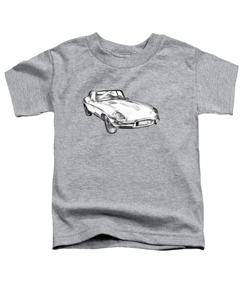 1964 Jaguar Xke Antique Sportscar Illustration Toddler T-Shirt