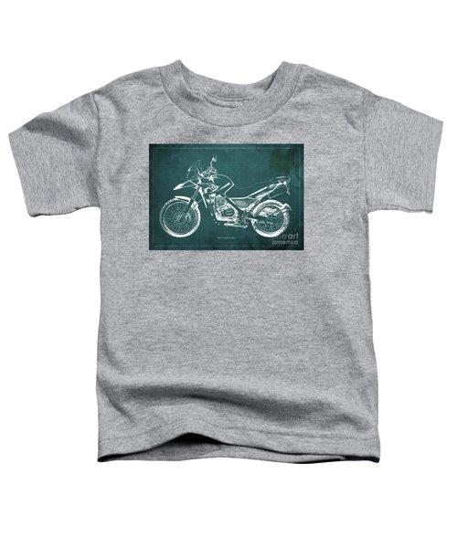 2010 Bmw G650gs Vintage Blueprint Green Background Toddler T-Shirt