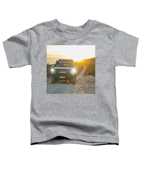 4wd Car Explores Sand Track In Early Morning Light Toddler T-Shirt