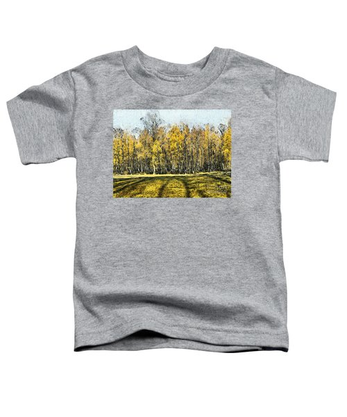 Watercolor Landscape Autumn Painting Forest Toddler T-Shirt