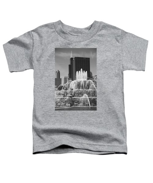 Chicago Skyline And Buckingham Fountain Toddler T-Shirt