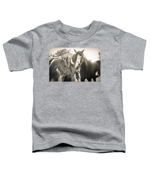 A Girl And Horses In The Sun Sepia Toddler T-Shirt