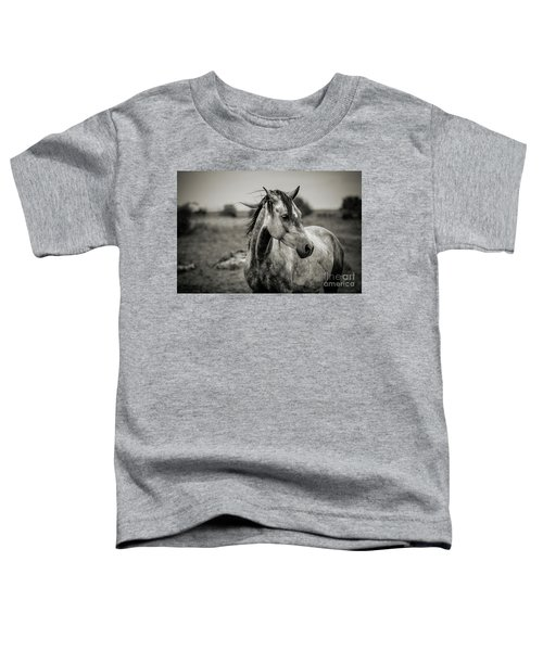 A Horse In Profile In Black And White Toddler T-Shirt