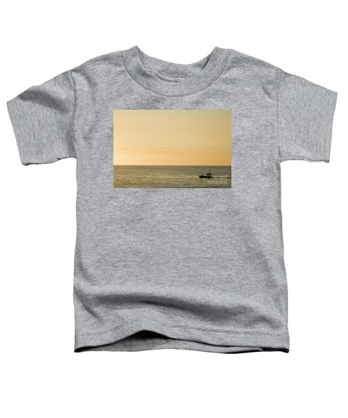 A Small Fishing Boat In Sunset Over Cardigan Bay Aberystwyth Ceredigion West Wales Toddler T-Shirt