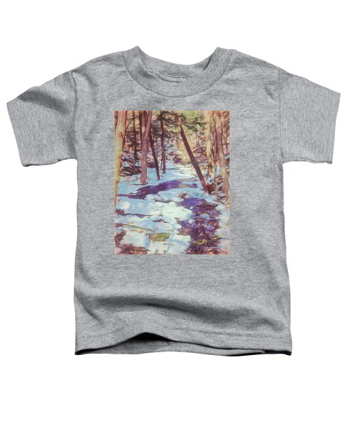 A Small Stream Meandering Through Winter Landscape. Toddler T-Shirt