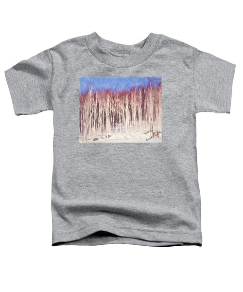 A Stand Of White Birch Trees In Winter. Toddler T-Shirt