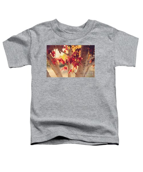 Toddler T-Shirt featuring the photograph A Warm Red Autumn by Linda Lees
