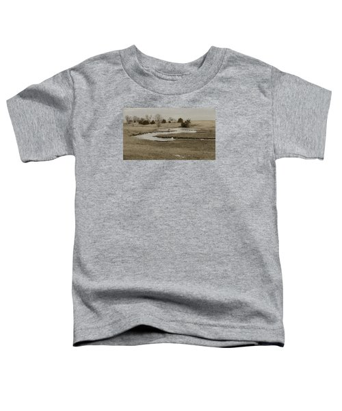 A Winding Creek In Winter As Geese Fly Overhead Toddler T-Shirt