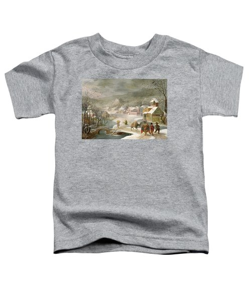 A Winter Landscape With Travellers On A Path Toddler T-Shirt by Denys van Alsloot
