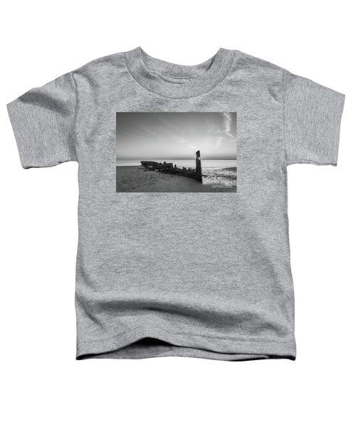 Abandoned Boat Sunset Bw Toddler T-Shirt