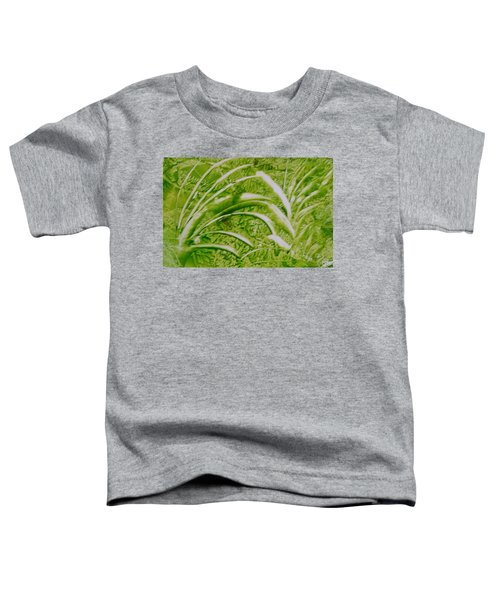 Abstract Green And White Leaves And Grass Toddler T-Shirt